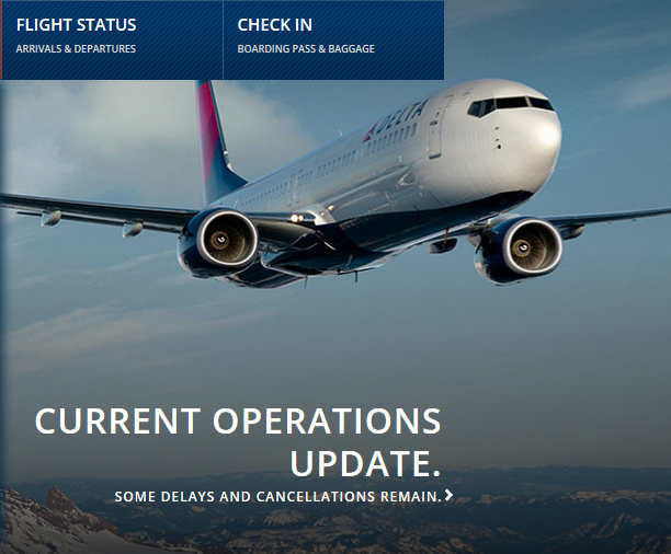 Delta Airlines operations update web page