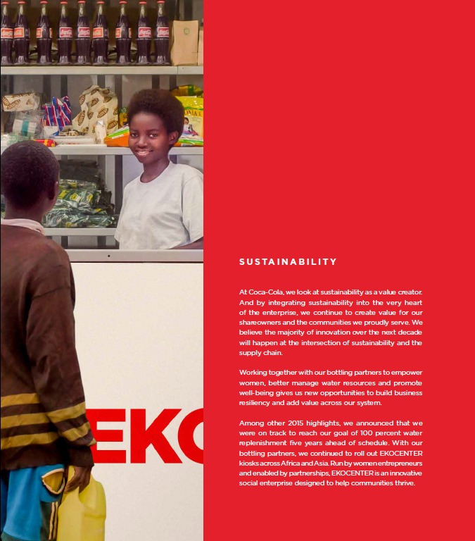 Sustainability example in Coca-Cola's integrated report